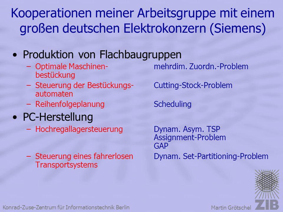 Konrad-Zuse-Zentrum für Informationstechnik Berlin Martin Grötschel Kooperationen meiner Arbeitsgruppe mit einem großen deutschen Elektrokonzern (Siem
