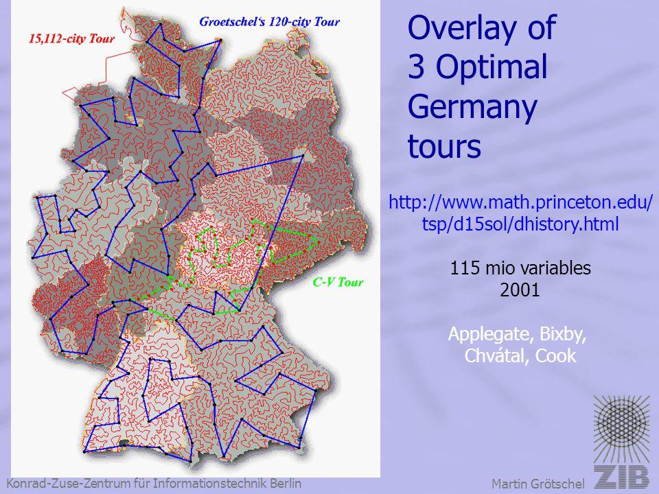 Konrad-Zuse-Zentrum für Informationstechnik Berlin Martin Grötschel Overlay of 3 Optimal Germany tours http://www.math.princeton.edu/ tsp/d15sol/dhist