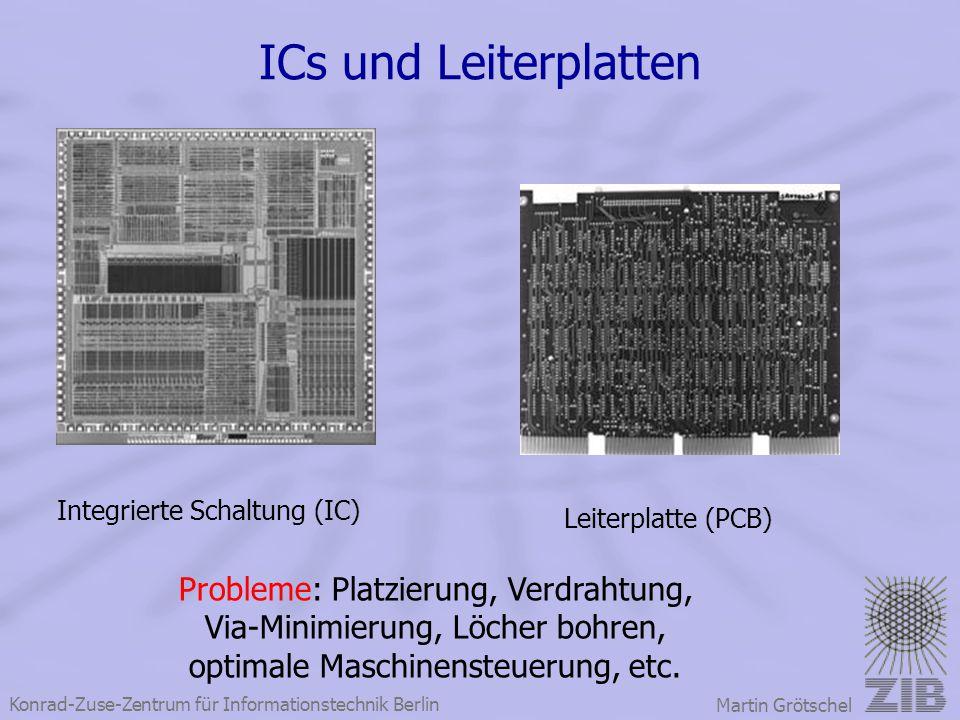 Konrad-Zuse-Zentrum für Informationstechnik Berlin Martin Grötschel ICs und Leiterplatten Integrierte Schaltung (IC) Leiterplatte (PCB) Probleme: Plat