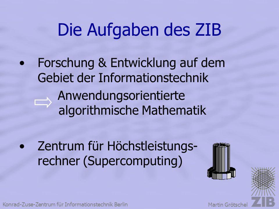 Konrad-Zuse-Zentrum für Informationstechnik Berlin Martin Grötschel Die Aufgaben des ZIB Forschung & Entwicklung auf dem Gebiet der Informationstechni