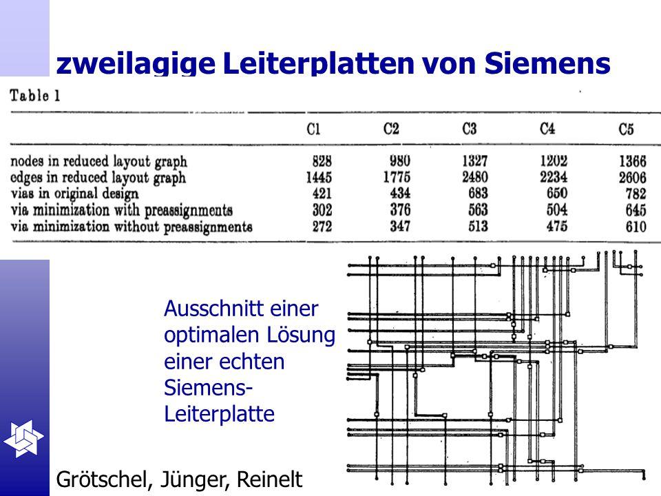 zweilagige Leiterplatten von Siemens Ausschnitt einer optimalen Lösung einer echten Siemens- Leiterplatte Grötschel, Jünger, Reinelt