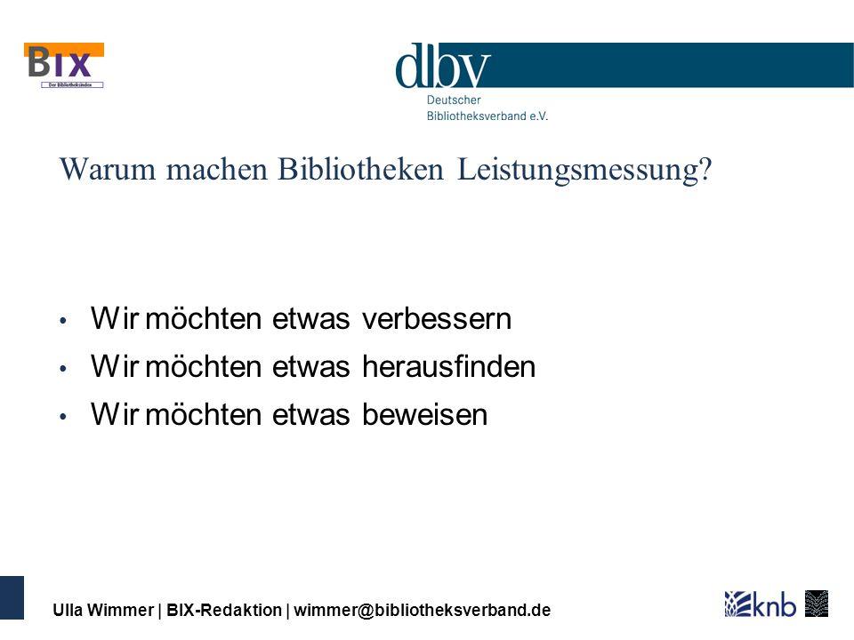 Ulla Wimmer | BIX-Redaktion | wimmer@bibliotheksverband.de Wir möchten etwas verbessern (für unsere Kunden) Dienstleistungen für die Nutzerinnen und Nutzer Arbeitsabläufe in der Bibliothek Ausstattung der Bibliothek Ziel: Nutzerinnen und Nutzer Qualität