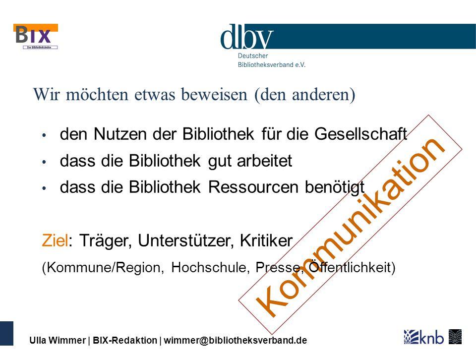 Ulla Wimmer | BIX-Redaktion | wimmer@bibliotheksverband.de Von der Kennzahl zum Managementinstrument Zahlen und Daten vergleichen Leistungsmessung Benchmarking Qualitäts- management Controlling Balanced Scorecard Wirkungs- forschung