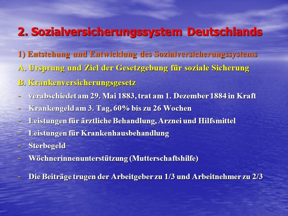 2. Sozialversicherungssystem Deutschlands 1) Entstehung und Entwicklung des Sozialversicherungssystems A. Ursprung und Ziel der Gesetzgebung für sozia