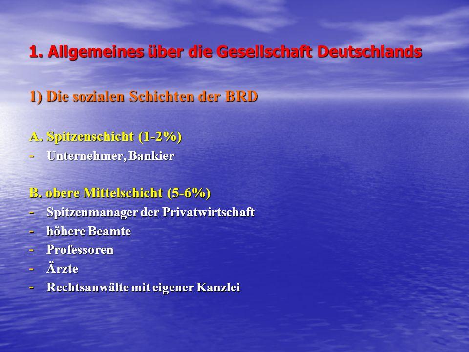 1.Allgemeines über die Gesellschaft Deutschlands 1) Die sozialen Schichten der BRD A.