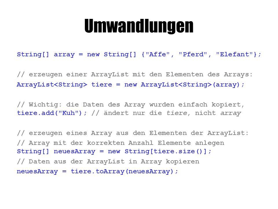 Array: typ[] name = {Werte}; Regal mit gleichartigen Kisten: name[0]  Inhalt der ersten Kiste int[] arr = {3, 5, 0, 17}; // leeres Array: int[] arr = new int[4]; System.out.println(arr[3]); //  17 arr[1] = 11; // an 2.