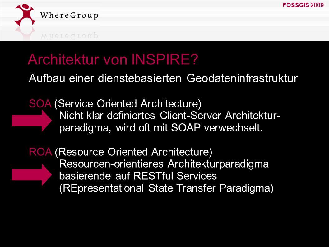 FOSSGIS 2009 19. März 2009 Architektur von INSPIRE? SOA (Service Oriented Architecture) Nicht klar definiertes Client-Server Architektur- paradigma, w