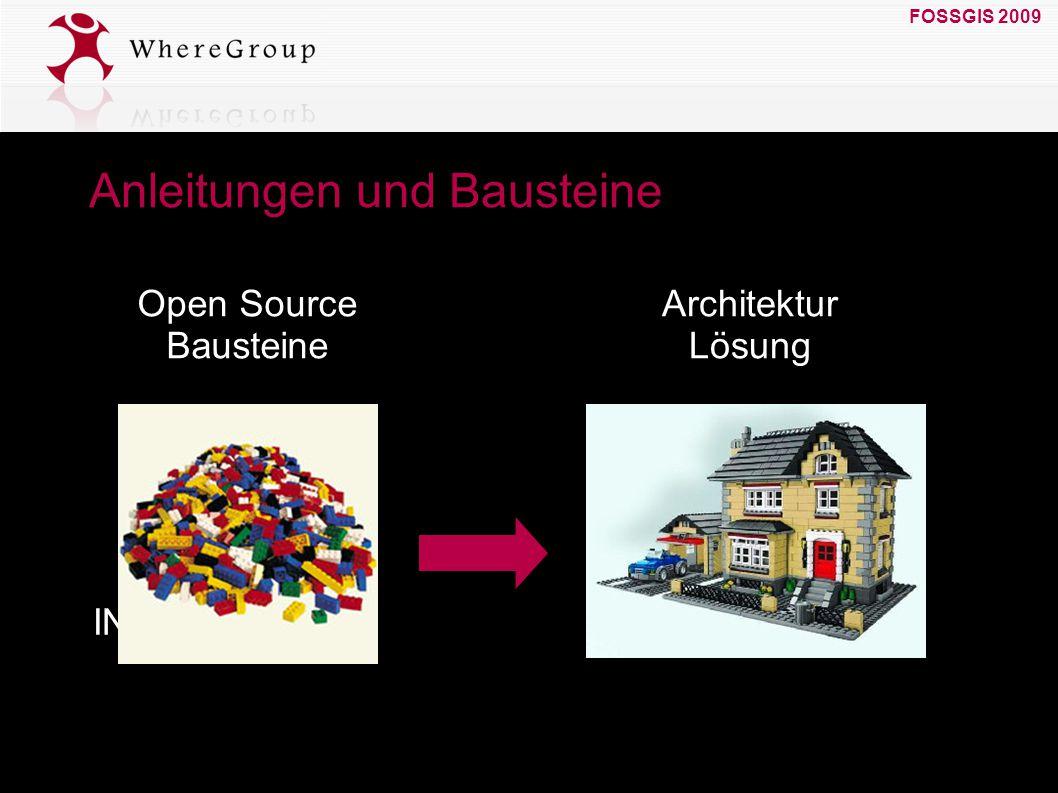 FOSSGIS 2009 19. März 2009 Anleitungen und Bausteine GDI INSPIRE Open Source Bausteine Architektur Lösung