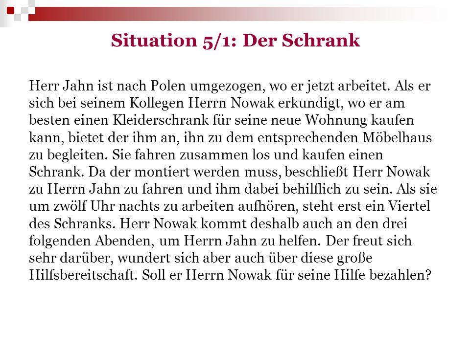 Situation 5/1: Der Schrank Herr Jahn ist nach Polen umgezogen, wo er jetzt arbeitet. Als er sich bei seinem Kollegen Herrn Nowak erkundigt, wo er am b