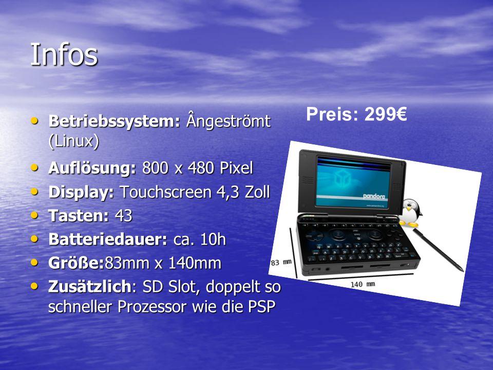 Infos Betriebssystem: Ângeströmt (Linux) Betriebssystem: Ângeströmt (Linux) Auflösung: 800 x 480 Pixel Auflösung: 800 x 480 Pixel Display: Touchscreen