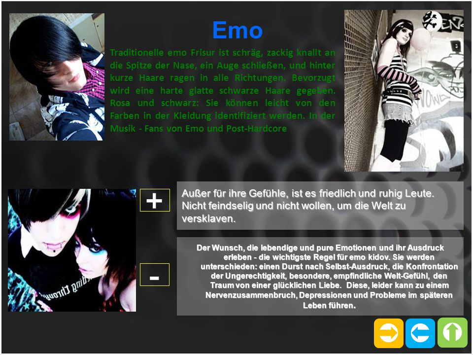   Emo Traditionelle emo Frisur ist schräg, zackig knallt an die Spitze der Nase, ein Auge schließen, und hinter kurze Haare ragen in alle Richtunge