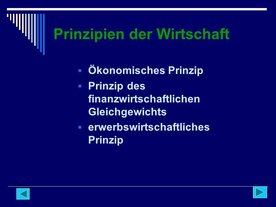 Prinzipien der Wirtschaft  Ökonomisches Prinzip  Prinzip des finanzwirtschaftlichen Gleichgewichts  erwerbswirtschaftliches Prinzip