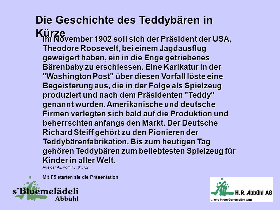 Die Geschichte des Teddybären in Kürze Im November 1902 soll sich der Präsident der USA, Theodore Roosevelt, bei einem Jagdausflug geweigert haben, ein in die Enge getriebenes Bärenbaby zu erschiessen.