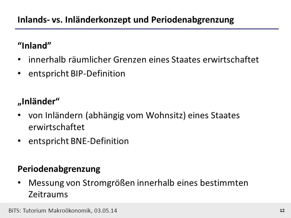 """BiTS: Tutorium Makroökonomik, 03.05.14 12 Inlands- vs. Inländerkonzept und Periodenabgrenzung """"Inland"""" innerhalb räumlicher Grenzen eines Staates erwi"""