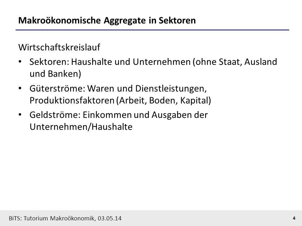 BiTS: Tutorium Makroökonomik, 03.05.14 4 Makroökonomische Aggregate in Sektoren Wirtschaftskreislauf Sektoren: Haushalte und Unternehmen (ohne Staat,