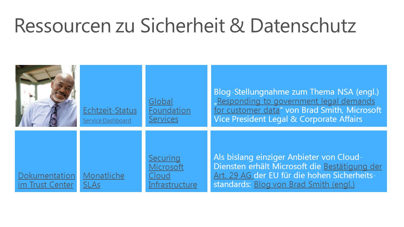"Ressourcen zu Sicherheit & Datenschutz Monatliche SLAs Echtzeit-Status Service Dashboard Securing Microsoft Cloud Infrastructure Dokumentation im Trust Center Global Foundation Services Blog-Stellungnahme zum Thema NSA (engl.) ""Responding to government legal demands for customer data von Brad Smith, Microsoft Vice President Legal & Corporate AffairsResponding to government legal demands for customer data Als bislang einziger Anbieter von Cloud- Diensten erhält Microsoft die Bestätigung der Art."