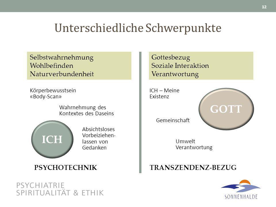 Unterschiedliche Schwerpunkte 12 ICH GOTT Körperbewusstsein «Body-Scan» Wahrnehmung des Kontextes des Daseins Absichtsloses Vorbeiziehen- lassen von G