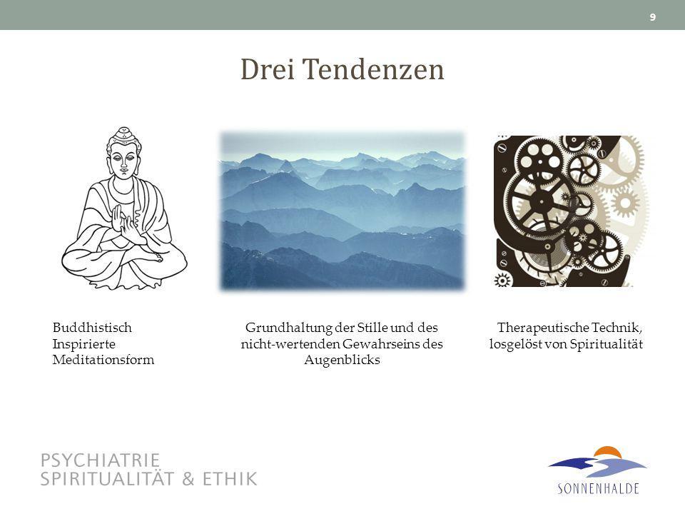 Drei Tendenzen 9 Buddhistisch Inspirierte Meditationsform Grundhaltung der Stille und des nicht-wertenden Gewahrseins des Augenblicks Therapeutische T