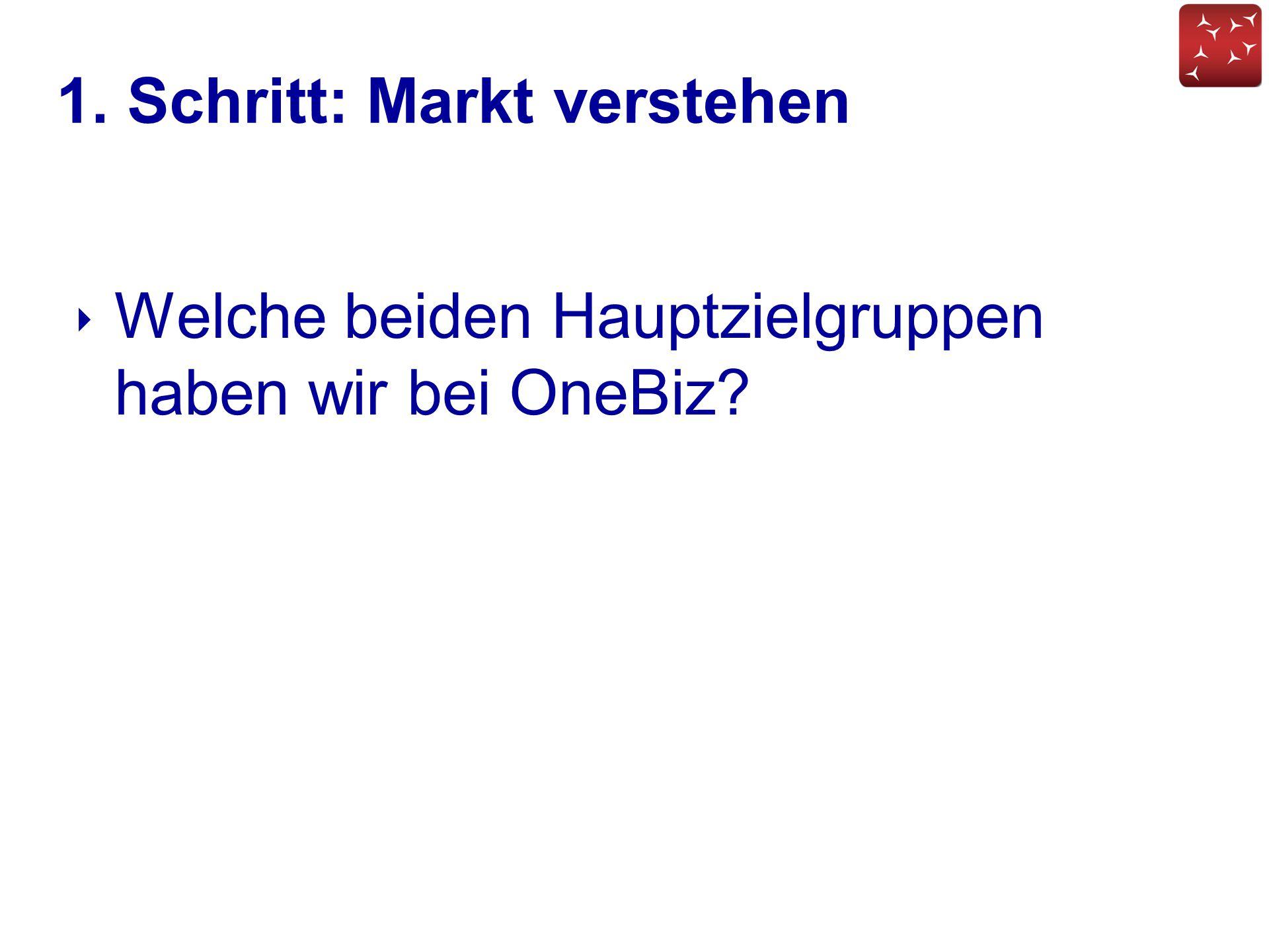 1. Schritt: Markt verstehen ‣ Welche beiden Hauptzielgruppen haben wir bei OneBiz?