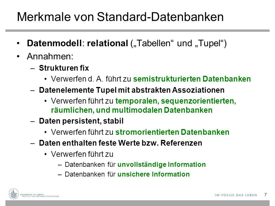 Inhalt der Vorlesung Semistrukturierte Datenbanken (XML) Temporale, sequenzorientierte, räumliche und multimodale Datenbanken –zeitlich beschränkte Gültigkeiten –lineare und mehrdimensionale Strukturen Datenbanken für Datenströme (Fensterkonzept) Datenbanken über unvollständigen Informationen (u.a.
