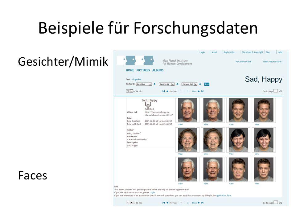 Beispiele für Forschungsdaten Gesichter/Mimik Faces