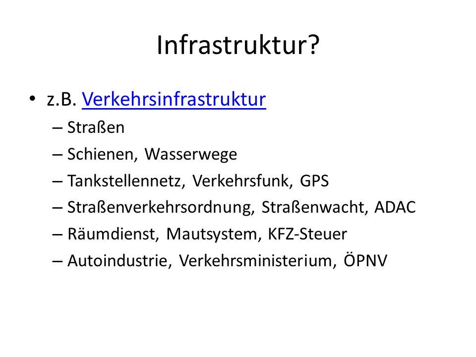 Infrastruktur? z.B. VerkehrsinfrastrukturVerkehrsinfrastruktur – Straßen – Schienen, Wasserwege – Tankstellennetz, Verkehrsfunk, GPS – Straßenverkehrs