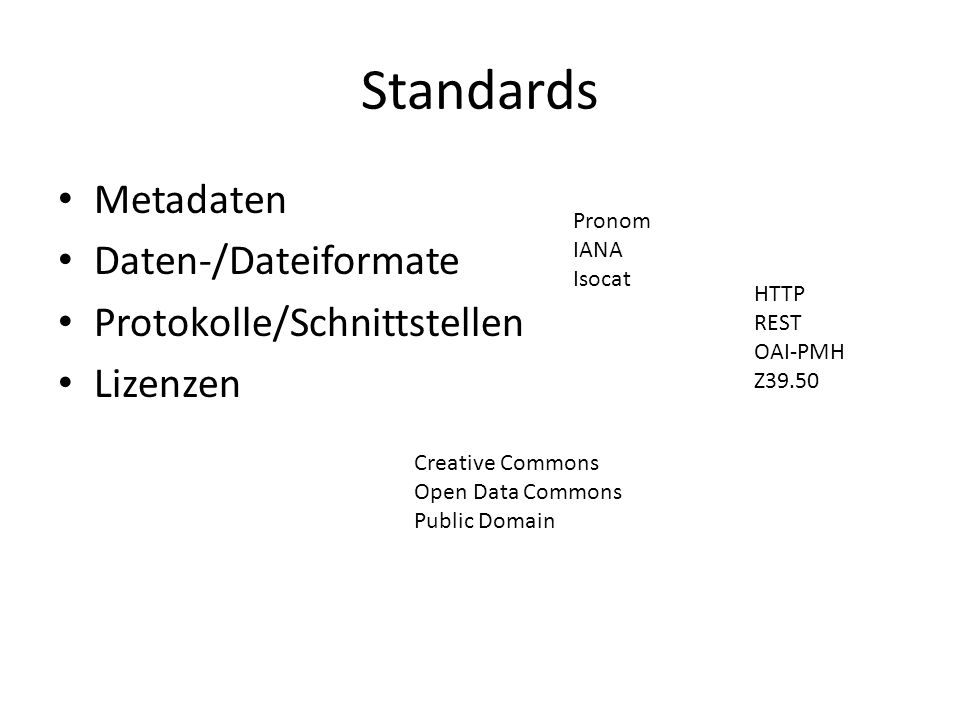 Standards Metadaten Daten-/Dateiformate Protokolle/Schnittstellen Lizenzen HTTP REST OAI-PMH Z39.50 Pronom IANA Isocat Creative Commons Open Data Commons Public Domain