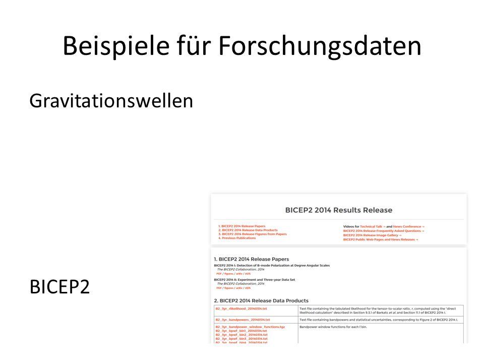 Beispiele für Forschungsdaten Gravitationswellen BICEP2