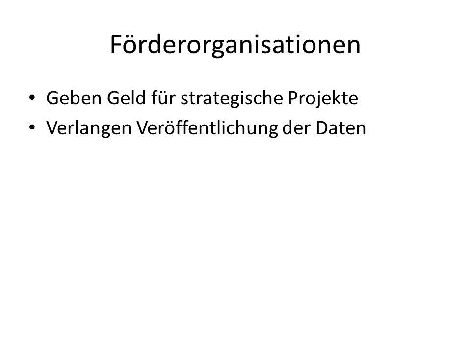 Förderorganisationen Geben Geld für strategische Projekte Verlangen Veröffentlichung der Daten