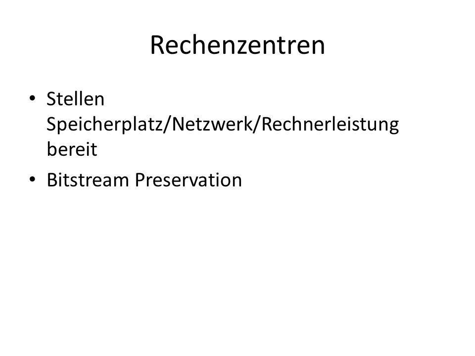 Rechenzentren Stellen Speicherplatz/Netzwerk/Rechnerleistung bereit Bitstream Preservation