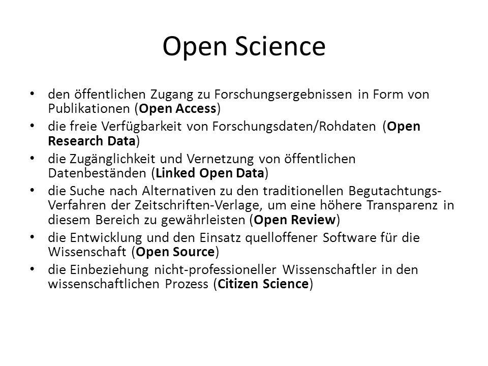 Open Science den öffentlichen Zugang zu Forschungsergebnissen in Form von Publikationen (Open Access) die freie Verfügbarkeit von Forschungsdaten/Rohd