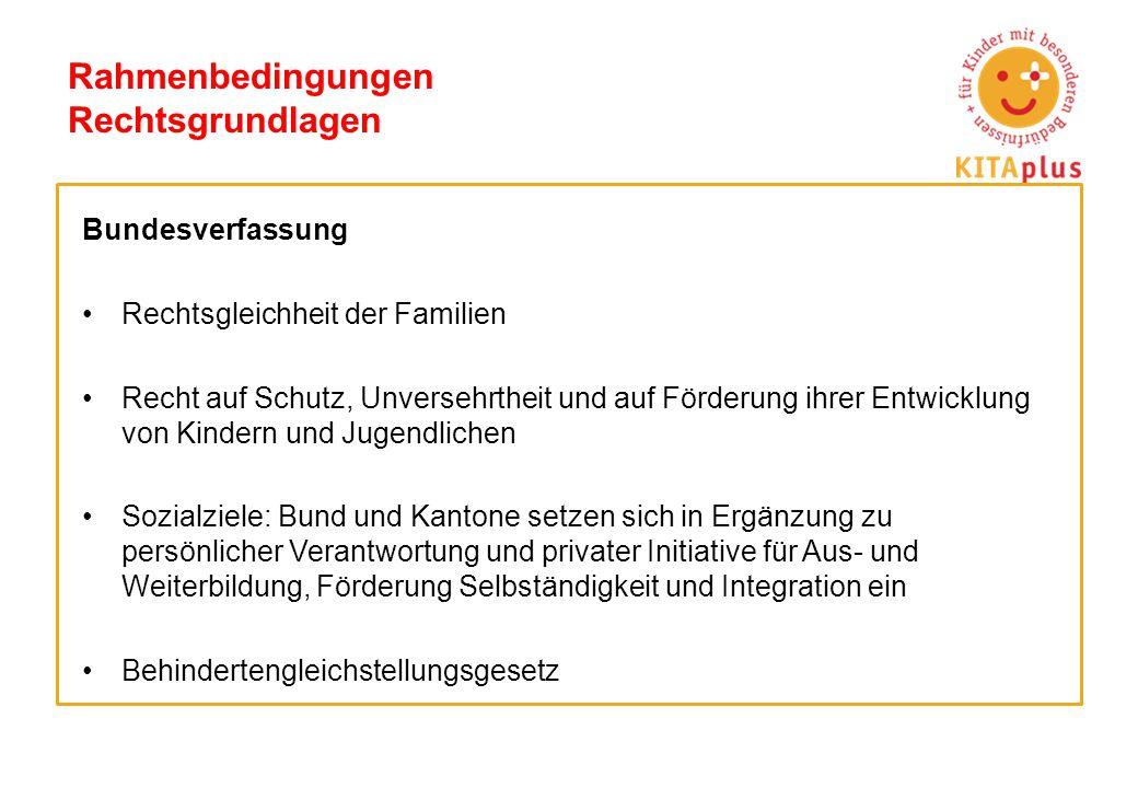 Rahmenbedingungen Rechtsgrundlagen Kantone Familienergänzende Kinderbetreuung ist Aufgabe der Kantone.