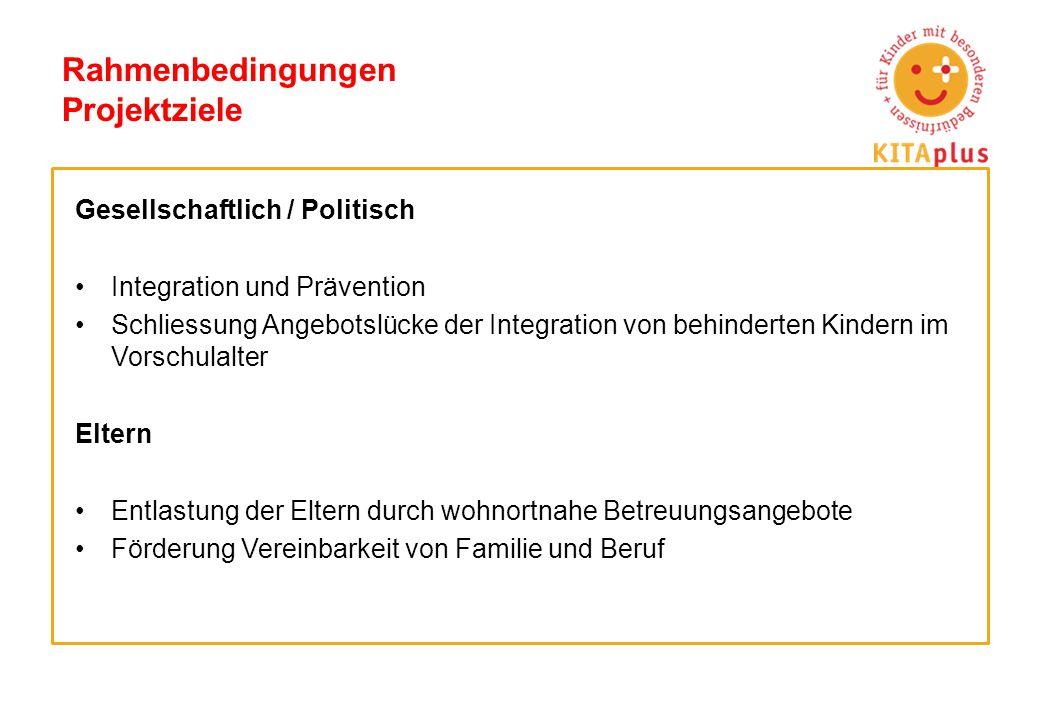 Rahmenbedingungen Projektziele Gesellschaftlich / Politisch Integration und Prävention Schliessung Angebotslücke der Integration von behinderten Kinde