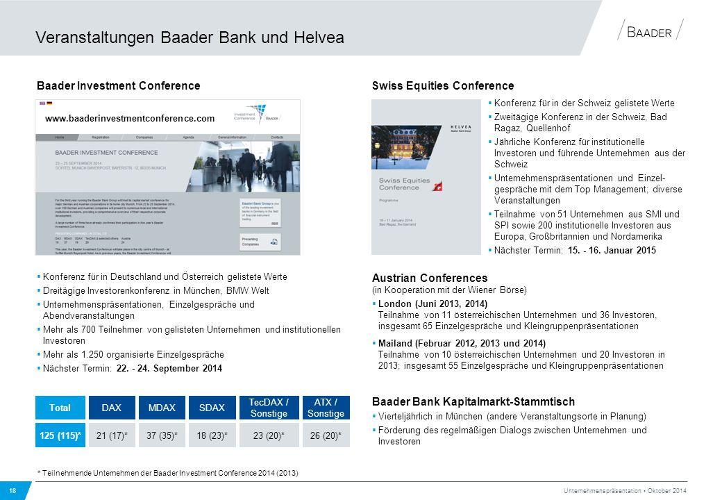 Veranstaltungen Baader Bank und Helvea 18 Unternehmenspräsentation Oktober 2014  Konferenz für in Deutschland und Österreich gelistete Werte  Dreitä