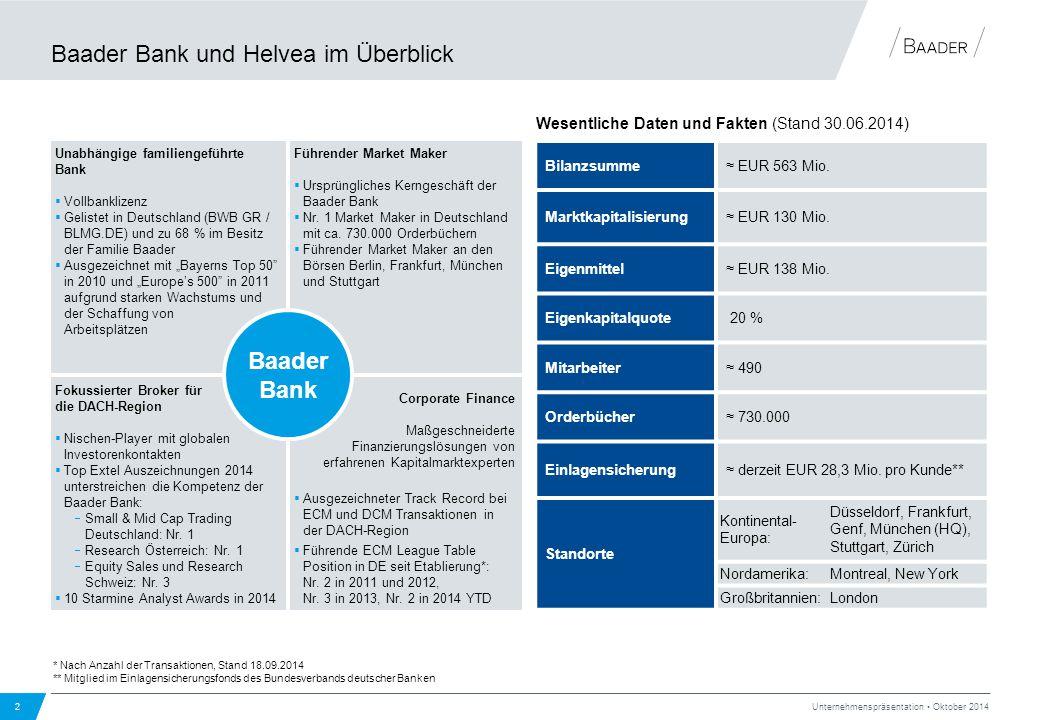 Fokussierter Broker für die DACH-Region  Nischen-Player mit globalen Investorenkontakten  Top Extel Auszeichnungen 2014 unterstreichen die Kompetenz