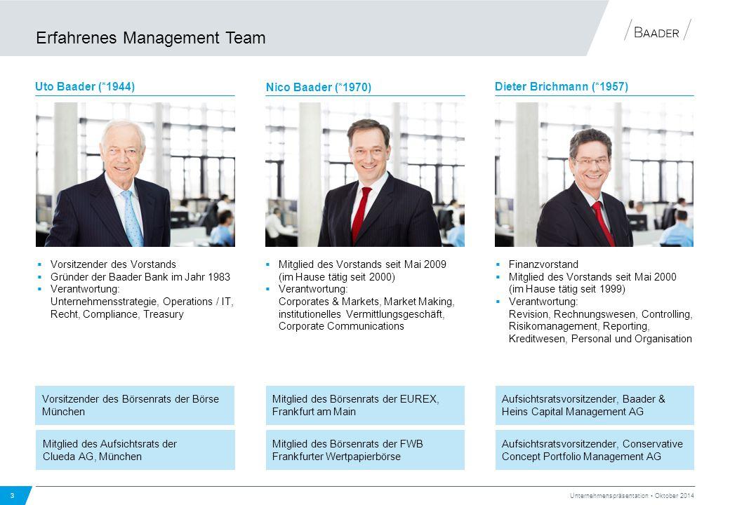 Erfahrenes Management Team 3 Unternehmenspräsentation Oktober 2014 Mitglied des Börsenrats der EUREX, Frankfurt am Main Mitglied des Börsenrats der FW