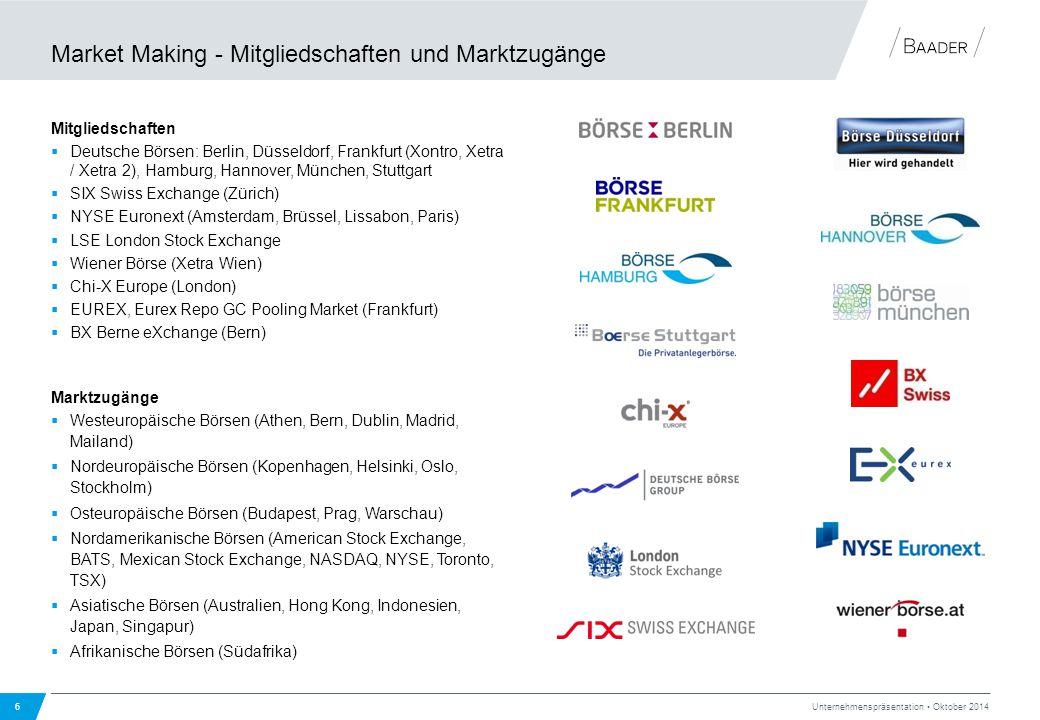 Market Making - Mitgliedschaften und Marktzugänge Mitgliedschaften  Deutsche Börsen: Berlin, Düsseldorf, Frankfurt (Xontro, Xetra / Xetra 2), Hamburg