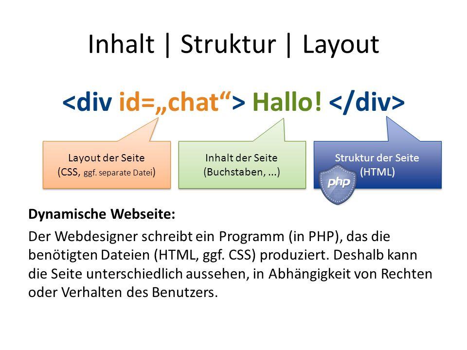 Inhalt | Struktur | Layout Hallo! Dynamische Webseite: Der Webdesigner schreibt ein Programm (in PHP), das die benötigten Dateien (HTML, ggf. CSS) pro