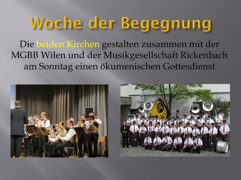 Die beiden Kirchen gestalten zusammen mit der MGBB Wilen und der Musikgesellschaft Rickenbach am Sonntag einen ökumenischen Gottesdienst