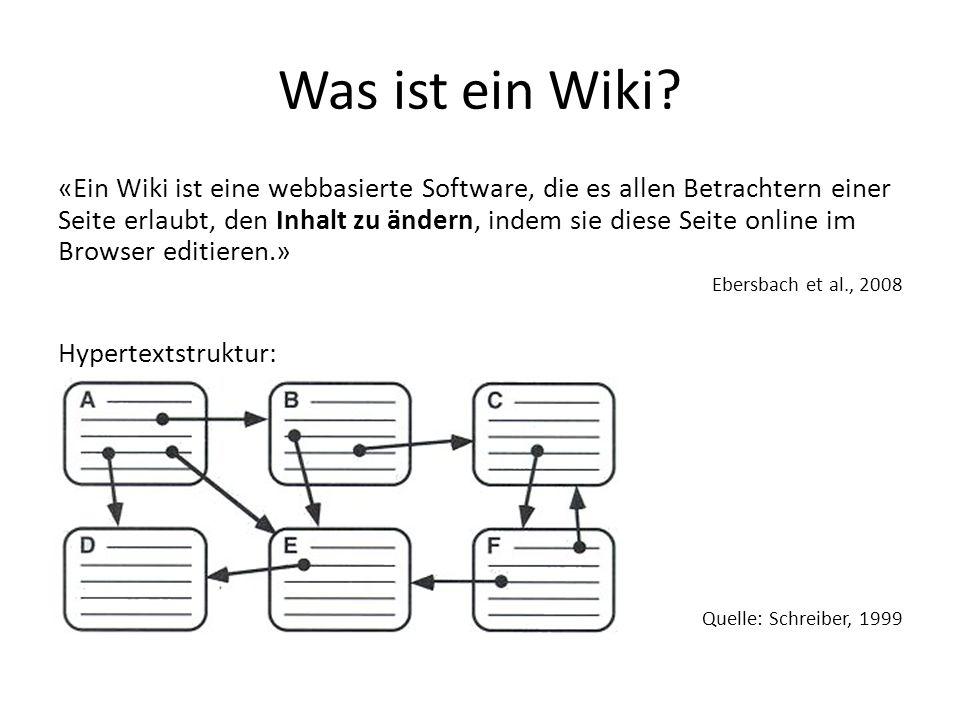 Was ist ein Wiki? «Ein Wiki ist eine webbasierte Software, die es allen Betrachtern einer Seite erlaubt, den Inhalt zu ändern, indem sie diese Seite o