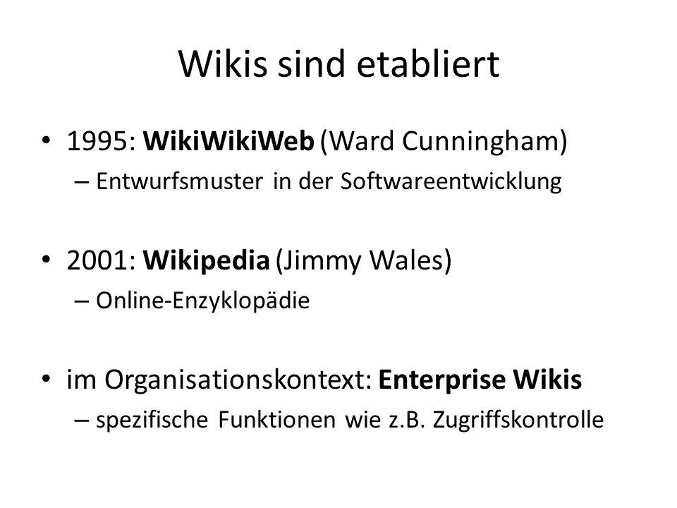 Wikis sind etabliert 1995: WikiWikiWeb (Ward Cunningham) – Entwurfsmuster in der Softwareentwicklung 2001: Wikipedia (Jimmy Wales) – Online-Enzyklopäd