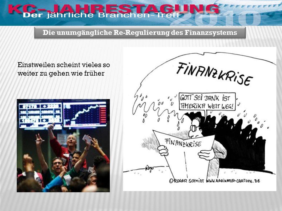 32 Die unumgängliche Re-Regulierung des Finanzsystems Einstweilen scheint vieles so weiter zu gehen wie früher