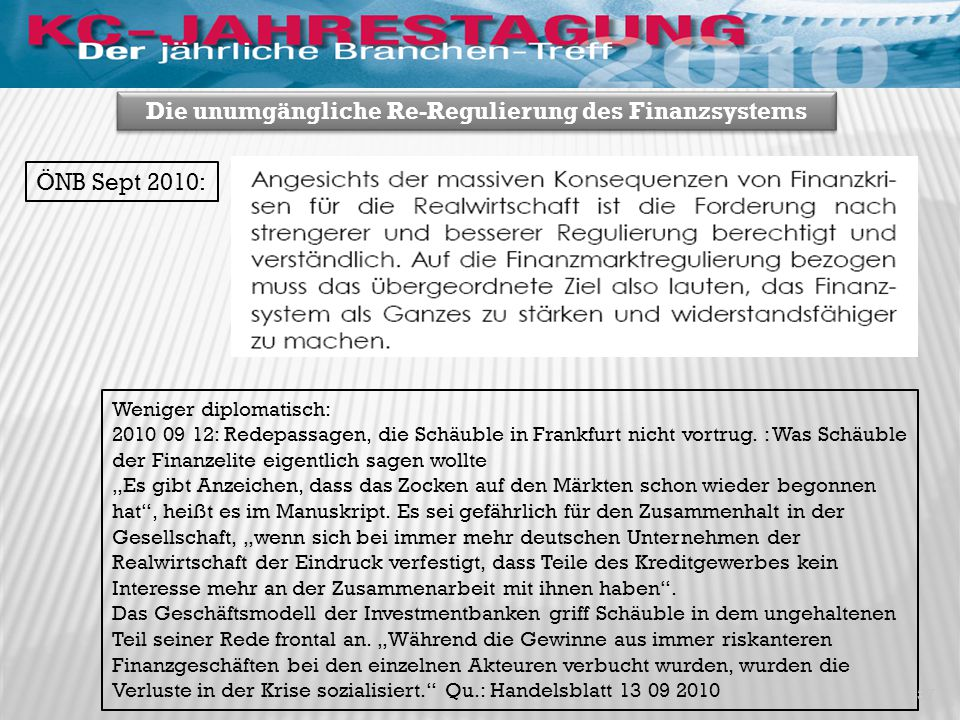 Qu.: FIW Policy Brief, Mooslechner, ÖNB, Sept 2010 38 Die unumgängliche Re-Regulierung des Finanzsystems USA