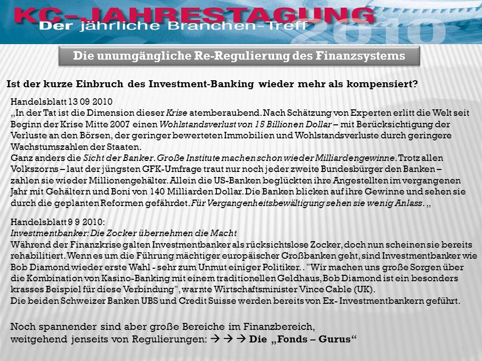 42 Die unumgängliche Re-Regulierung des Finanzsystems Handelsblatt 9 9 2010: Investmentbanker: Die Zocker übernehmen die Macht Während der Finanzkrise galten Investmentbanker als rücksichtslose Zocker, doch nun scheinen sie bereits rehabilitiert.