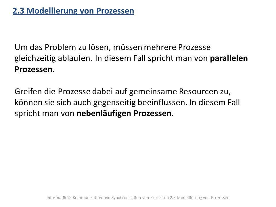 Informatik 12 Kommunikation und Synchronisation von Prozessen 2.3 Modellierung von Prozessen 2.3 Modellierung von Prozessen Um das Problem zu lösen, m