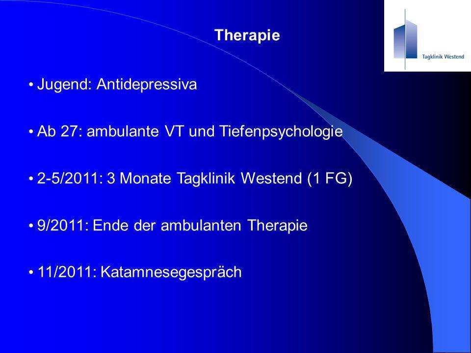 Therapie Jugend: Antidepressiva Ab 27: ambulante VT und Tiefenpsychologie 2-5/2011: 3 Monate Tagklinik Westend (1 FG) 9/2011: Ende der ambulanten Ther