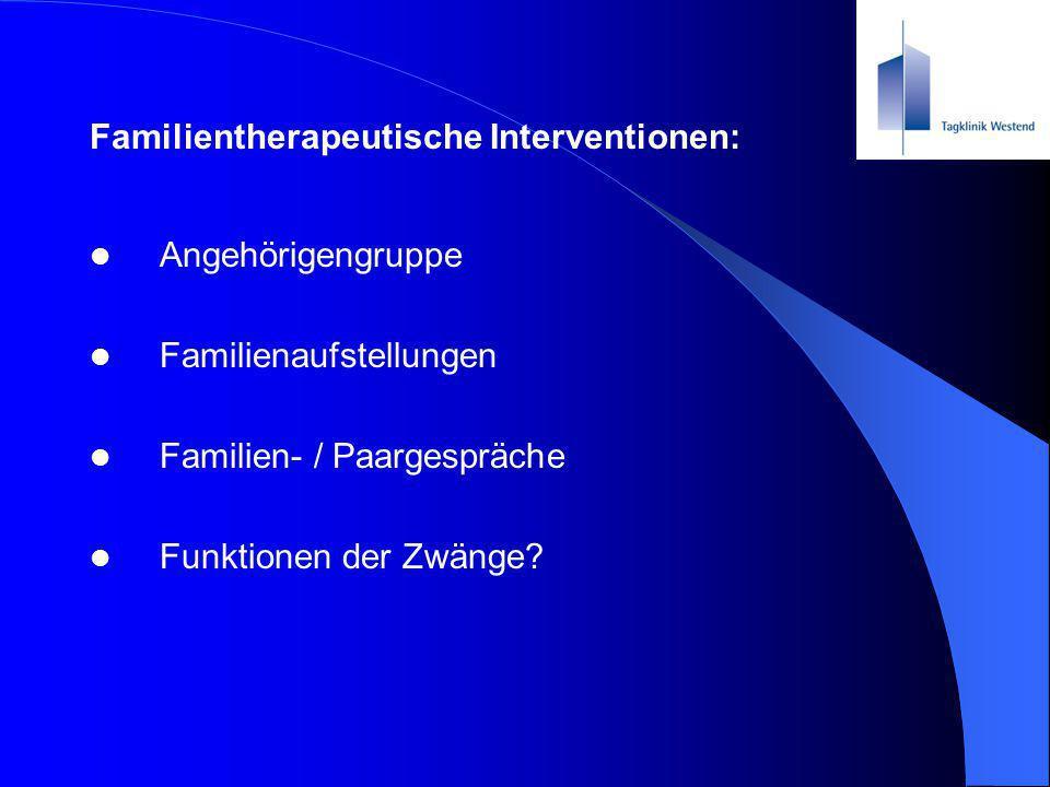 Familientherapeutische Interventionen: Angehörigengruppe Familienaufstellungen Familien- / Paargespräche Funktionen der Zwänge?