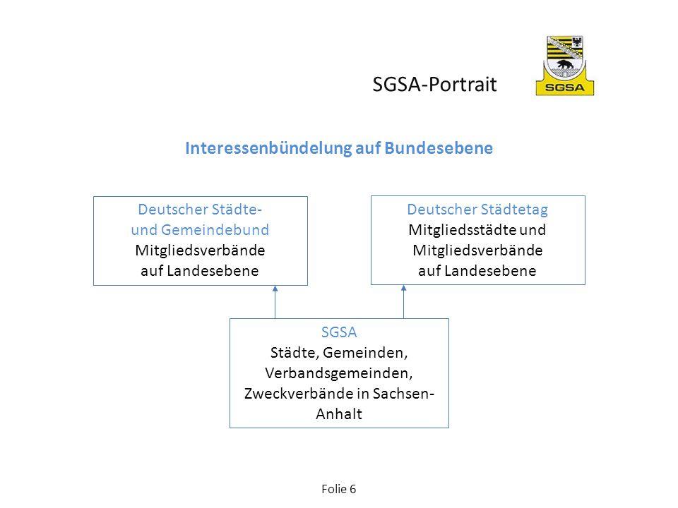 Folie 7 Gremien Der SGSA ist in der Rechtsform eines eingetragenen Vereins organisiert und handelt durch die Verbandsorgane Mitgliederversammlung, Kreisvorstandskonferenz, Präsidium, Landesgeschäftsführer.