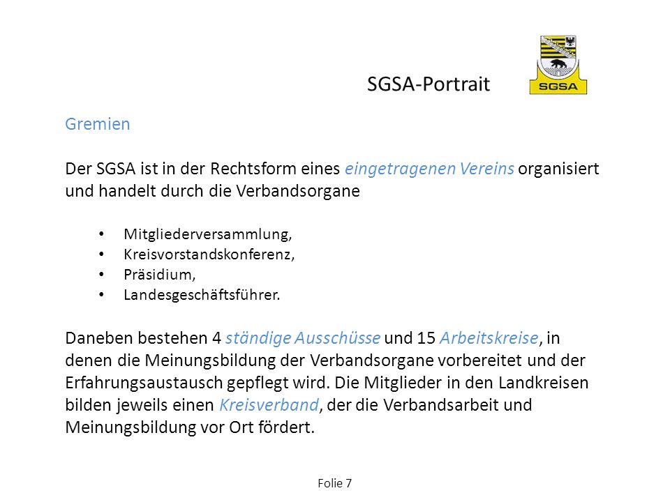 Folie 7 Gremien Der SGSA ist in der Rechtsform eines eingetragenen Vereins organisiert und handelt durch die Verbandsorgane Mitgliederversammlung, Kre
