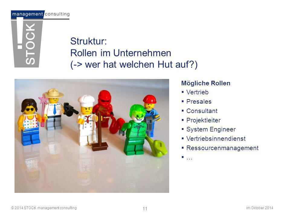 im Oktober 2014© 2014 STOCK management consulting 11 Struktur: Rollen im Unternehmen (-> wer hat welchen Hut auf?) Mögliche Rollen  Vertrieb  Presal